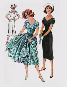 Vintage 50s Rockabilly Slim or Full Skirted Dress w/ Off the Shoulder Notched V Neckline Sewing Pattern McCalls 4562 Size 16 Bust 36 by sandritocat on Etsy