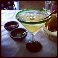 A margarita and salsa at Frida Mexican Restaurant at The Americana at Brand in Glendale, CA