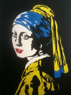 Finished the first stencil in this series of turning the Old Masters into street art: Vermeer's Girl With a Pearl Earring. $300 Girl With Pearl Earring, Pearl Earing, Mona Friends, Pop Art Girl, Johannes Vermeer, Dutch Golden Age, Famous Artwork, Arte Pop, Old Master