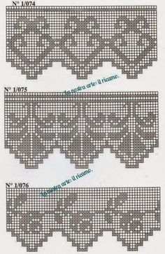 New knitting charts patterns quilts Ideas Crochet Lace Edging, Crochet Motifs, Crochet Borders, Thread Crochet, Crochet Doilies, Crochet Patterns, Embroidery Patterns, Hand Embroidery, Filet Crochet Charts