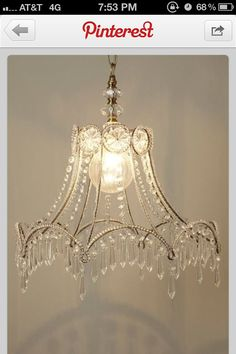 Venise lace faux chandelier pendant lamp shade ivory pinterest love this greentooth Images