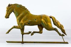 19th c. RUNNING HORSE WEATHER VANE : Full copper hollow body painted ochre with great untouched verdigris patina and remnants of gilding. Unsigned. Probably by Harris & Son Boston.