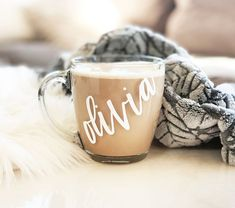 Glass Mug Personalized Glass Coffee Mugs Fall Mug Holiday Mugs Holiday Gifts for Friends Personalized Gifts for Coworkers by ModParty Initial Coffee Mugs, Glass Coffee Mugs, Personalized Coffee Mugs, Funny Coffee Mugs, Tea Mugs, Personalized Items, Coffee Quotes, Mugs Set, Personalized Wedding