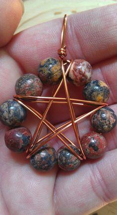 ☆ Leopard Jasper Copper Wire Wrapped Pentagram Pendant ~:¦:~ Etsy Shop: TheSkeletonsKey ☆