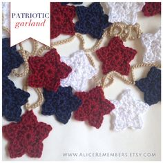 Patriotic Star Garland, star crochet garland, home decor, patriotic flag, American flag, wall hanging, star ornament, world-cup, team usa