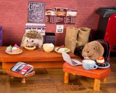 Hungry Hedgehog and His Hamster Buddy Enjoy a Few Snacks While Working at a Tiny Café