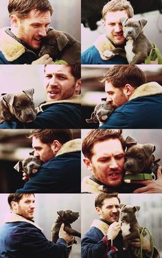 Tom Hardy cuddling a puppy on the set of Animal Rescue in NYC.