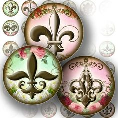 1 inch Circles Digital Collage Sheet Bottle Cap Jewelry Making Royal Fleur de Lis Paper Supplies Art Download File