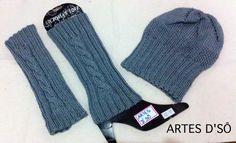 Polaina em tricô feito à mão .