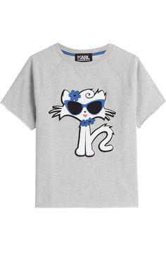 KARL LAGERFELD Cut Off Sleeve Choupette On The Beach Cotton Sweatshirt. #karllagerfeld #cloth #sweatshirts