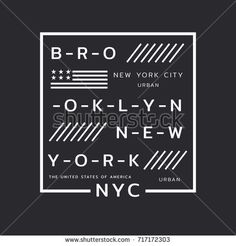 Vector illustration on the theme of New York City, Brooklyn. Stylized American flag. Typography, t-shirt graphics, poster, print, banner, flyer, postcard
