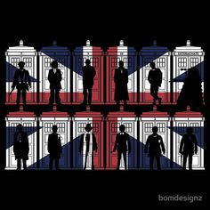 All 11 Doctors and a Dalek on a British flag!
