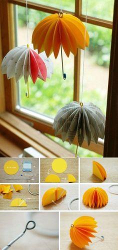 Diy Origami, Paper Crafts Origami, Origami Tutorial, Fun Crafts For Kids, Diy For Kids, Diy And Crafts, Paper Umbrellas, Art N Craft, Diy Halloween Decorations