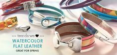 Use our new watercolor flat leather to create beautiful leather bracelets that are perfect for Spring. This flat leather is printed with beautiful watercolor designs. Just add a clasp for a simple and eye-catching wrap bracelet! This leather also looks great paired with plain leather in a multi-strand bracelet.