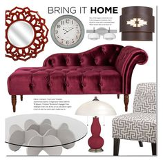 Grey and burgundy by Lampsplus by mada-malureanu on Polyvore featuring interior, interiors, interior design, home, home decor, interior decorating, Waverly, Besa Lighting, Universal Lighting and Decor and Cooper Classics