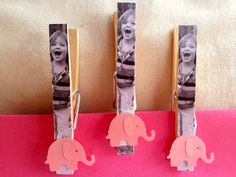 Pink Elephant Birthday Party Favor Photo Magnet Clips - Unique Treat Bag Clips and favors, First Birthday Elephant on Etsy, $20.00