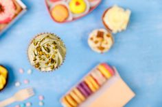 cupcake with pistachio cream donuts macaroons
