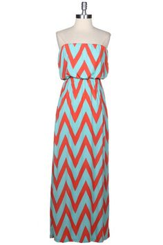Drifter Chevron Maxi Dress - Mint   Orange $48.00