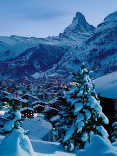 Snow-clad Zermatt and the Matterhorn, Switzerland. Zermatt, Switzerland In Winter, Places In Switzerland, Alps Switzerland, Glacier Express Switzerland, Places To Travel, Places To See, Austria, Winter Photos