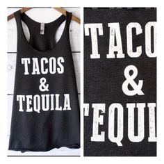 • Tacos & Tequila • Adorable black graphic tank. Super comfy and stretchy, light and loose. Recommend going with your normal size.    95% rayon, 5% spandex   No trades. Price firm. PLEASE DO NOT purchase this listing. Comment below what size you need and I'll make you a listing Jennifer's Chic Boutique Tops Tank Tops