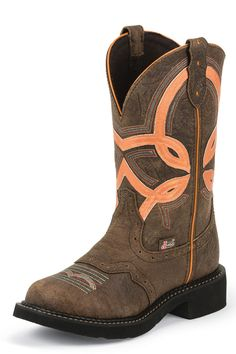 BOOT SALE & free shipping! Great price! Justin Women's Barnwood Orange Cowgirl Boots