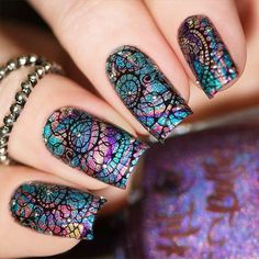 21 Unique Acrylic Nail Designs to Make Your Look Unforgettable ★ Acrylic Nail Designs Made With Stamping Technique Picture 2 ★ See more: http://glaminati.com/acrylic-nail-designs/ #acrylicnails #acrylicnaildesigns