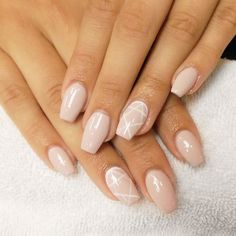 Baby pink nude acrylic coffin nails with geometric shape design|