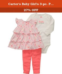 Carter's Baby Girl's 3-pc. Pink Butterfly Legging Set (Newborn). Carter's® Baby Girl's 3-pc. Pink Butterfly Legging Set From the Manufacturer: A darling 3-piece set offers a casual playtime look that easily transforms to a more polished partytime outfit to give your little one great style that's hassle-free.