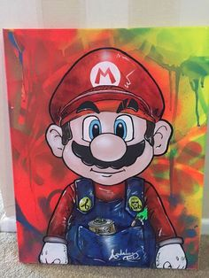 Picked up this Mario the Street Artist for my game room. Super Mario Kunst, Super Mario Art, Disney Kunst, Disney Art, Mario Und Luigi, Art Deco Artwork, Easy Canvas Art, Disney Drawings, Street Artists