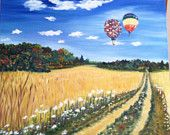 SOLD 20x24x1.5 oil on canvas, hot air balloons floating over a wheat field ready for harvest with queen ann lace wildflowers and fall trees Balloon Painting, Wheat Fields, Autumn Trees, Hot Air Balloon, Landscape Paintings, Wild Flowers, Oil On Canvas, Original Artwork, Balloons