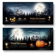 Scary Halloween Banners  With Pumpkins and Moon Vector EPS. Download here: https://graphicriver.net/item/scary-halloween-banners-with-pumpkins-and-moon/13399952?ref=ksioks