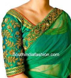 Zardosi work can add a very unique elegance and beauty to just about any garment, more so on saree blouses. Here are some artsy Zardosi work blouse designs Choli Designs, Bridal Blouse Designs, Sleeve Designs, Saree Blouse Designs, Blouse Styles, Indian Blouse, Indian Wear, Zardosi Work Blouse, Indie Mode