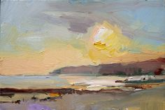 David Atkins: Setting Sun I, Charmouth, Dorset Campden Gallery, fine art, Chipping Campden, camden gallery, contemporary, contemporary arts, contemporary art, artists, painting, sculpture, abstract painting, gloucestershire,  cotswolds, painting for sale, artwork for sale, modern art gallery, art exhibitions,arts gallery, gallery art, art gallery UK