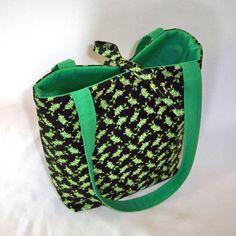Frog Purse Tote Bag Handbag Black Fabric Bag by ColleensDesigns, $25.00