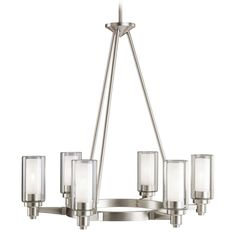 Six Light Brushed Nickel Large Chandelier  Smooth and tailored, this unusual 6 light circolo chandelier combines contemporary design with european flair. Clear cylindrical glass globes with etched glass centers repeat the circular theme extending the artistry. A stylish brushed nickel finish completes the look. 60-w. Max. Dia. 26, body height 26-1/2, overall 64-1/2, extra lead wire 78. For additional stems order no. 2998 and/or 2999 ni.