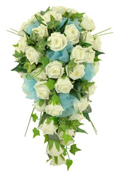 A lovely cascading wedding shower bouquet made in a bridal holder with classic ivory roses each with a diamante in the centre and finished with light blue organza ribbon bows.  Finished with a selection of green foliage, Ivy and bear grass strands.