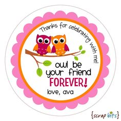 owl be your friend birthday stickers