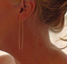Gold Hoops  Gold U Pin Open Hoop Stick Earrings by BlueWaveJewelry, $24.00