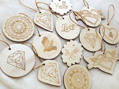 New Year's toys on the Christmas tree. Ten romantic wood cards and three magnets.