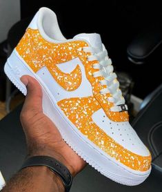 NIKE AF-1 YELLOW by waldocustom Nike Shoes Air Force, Nike Air Force Ones, Womens Fashion Sneakers, Nike Fashion, Teen Fashion, Winter Fashion, Fashion Outfits, Painted Sneakers, Nike Kicks