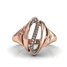 Magic-14k Rose Gold Modern Ring with Diamond Item by LUXARTJEWELRY