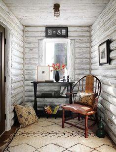 Lake Cabin-Wisconsin-Jessica Jubelirer White washed log cabin