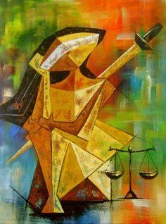 Quadro Deusa Justiça 60x80 Cod 606 | KATIA ALMEIDA - PINTURAS EM TELAS | 32AFB6 - Elo7