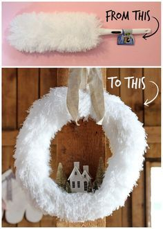 Turn 4 dollar store dusters into a dreamy Christmas wreath Create your own fluffy village Christmas wreath with dollar store dusters. Easy to recreate this Christmas wreath with this easy tutorial. Dollar Store Christmas, Christmas On A Budget, Christmas Holidays, Holiday Wreaths, Holiday Crafts, Winter Wreaths, Christmas Villages, Wreath Crafts, Xmas Decorations