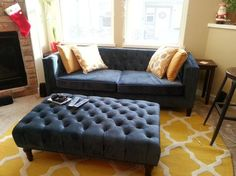 Midnight Blue Velvet Kendall Sofa | World Market