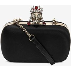 edb2d905af345c Alexander McQueen Silk Satin And Nappa Classic Skull Clutch With Chain  Strap Types Of Bag,
