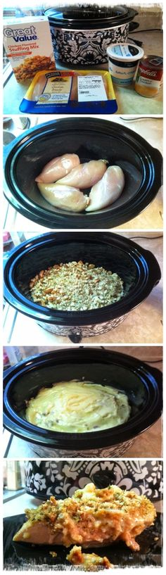 I made this tonight and…it was freakin' yummy! Great thing is it's only 4 ingredients.This  the best and easiest crockpot recipe I ever made! Ingredients: 4 Chicken Breasts (Thawed) 1 Box of Stove Top Stuffing Mix 1/2 cup of Sour Cream 1 can of Cream of Chicken Soup 1/4 c. water For more details please…