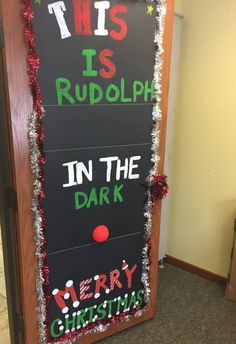 """Rudolph in the Dark"" Christmas Door Decorating Contest, Christmas Door Decorations, Christmas Ornaments, Christmas Bulletin Boards, Christmas Classroom Door, Simple Christmas, Christmas Time, Dark Doors, Door Displays"