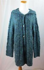 Chicos Women Cardigan Hooded Blue Green Silver Metallic Cable Knit SZ 3 16-18