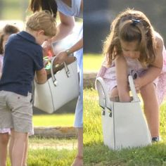 It's seems that there was something interesting in mum's bag . ❤️Duchess of Cambridge and her children Prince George and Princess Charlotte attended the Charity-Polo-Match in Beaufort Polo Club via ✨ @padgram ✨(http://dl.padgram.com)